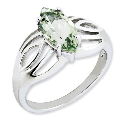 1.6 ct Sterling Silver Green Quartz Ring