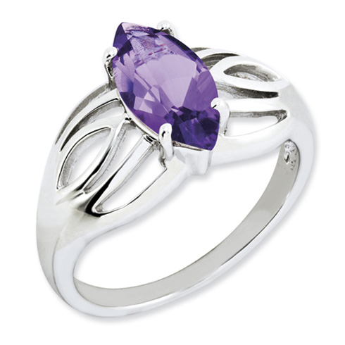Sterling Silver 1.6 ct Marquise Amethyst Ring