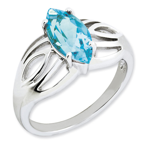 2.25 ct Sterling Silver Light Swiss Blue Topaz Ring