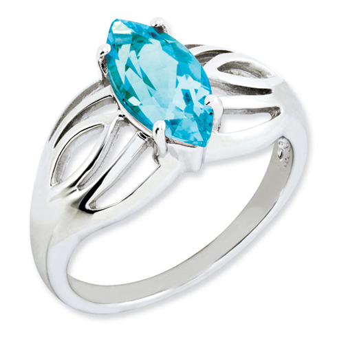 Sterling Silver 2.25 ct Marquise Light Swiss Blue Topaz Ring