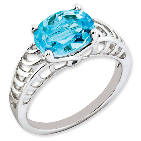 3.25 ct Sterling Silver Light Swiss Blue Topaz Ring