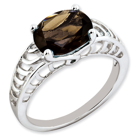 2.4 ct Sterling Silver Smokey Quartz Ring