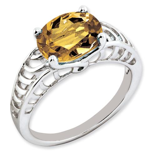 2.4 ct Sterling Silver Whiskey Quartz Ring