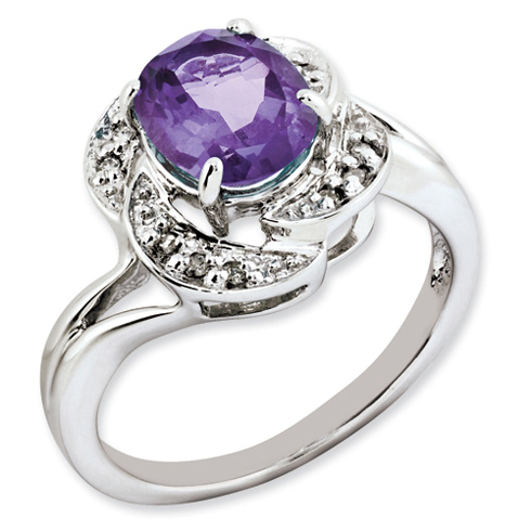 1.6 ct Sterling Silver Amethyst and Diamond Ring