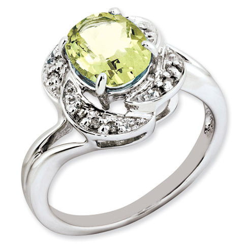 1.72 ct Sterling Silver Lemon Quartz and Diamond Ring