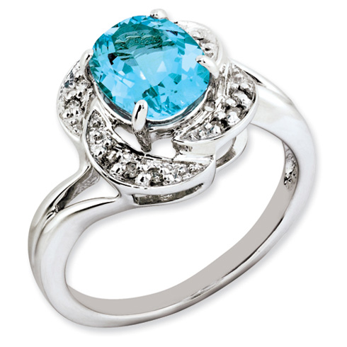 2.3 ct Sterling Silver Light Swiss Blue Topaz and Diamond Ring