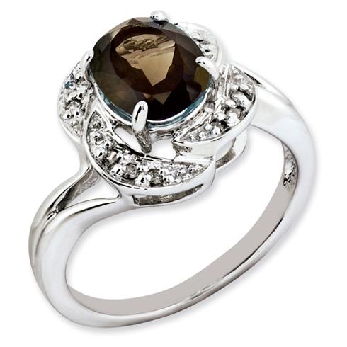 1.72 ct Sterling Silver Smokey Quartz and Diamond Ring