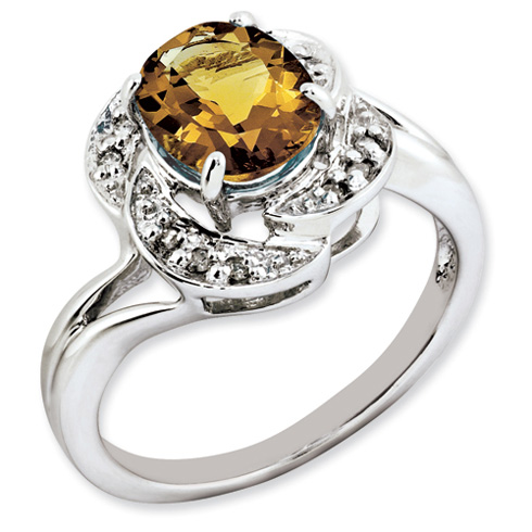 1.72 ct Sterling Silver Whiskey Quartz and Diamond Ring