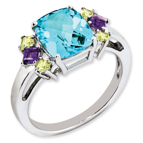 2.9 ct Sterling Silver Light Swiss Blue Amethyst and Citrine Ring