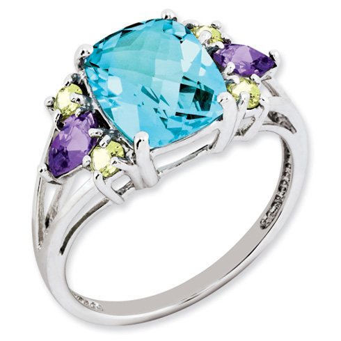 3.7 ct Sterling Silver Light Swiss Blue Topaz Amethsyt and Peridot Ring