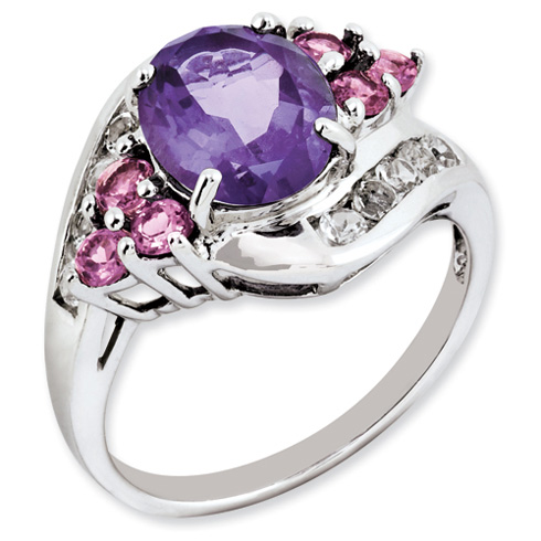 2.75 ct Sterling Silver Amethyst Pink Tourmarine and White Topaz Ring