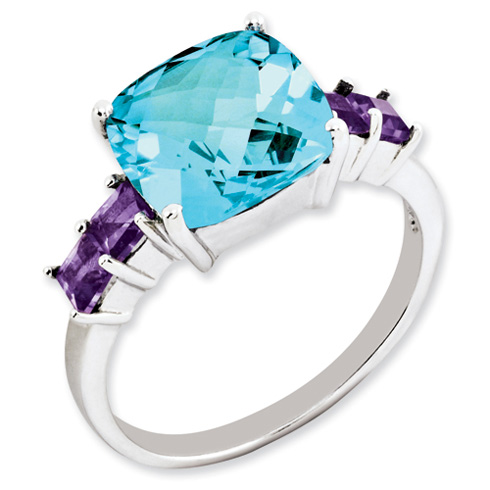 Sterling Silver 5.2 ct Light Swiss Blue Topaz and Amethyst Ring