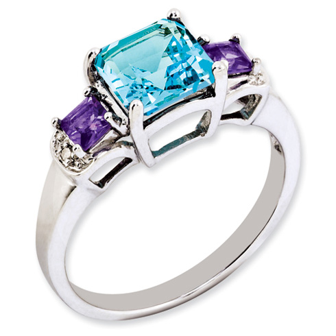 Sterling Silver 1.9 ct London Blue Topaz Amethyst and Diamond Ring