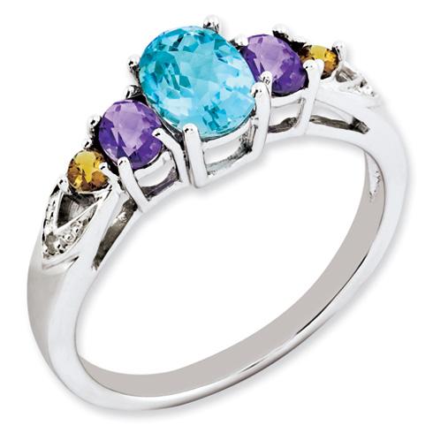 1.25 ct Sterling Silver Light Swiss Blue Topaz Amethyst Citrine and Diamond Ring
