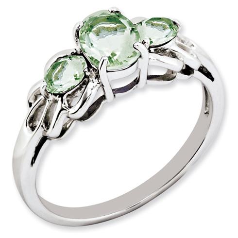1.7 ct Sterling Silver Green Quartz Ring