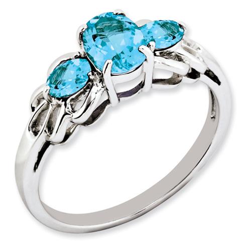 Sterling Silver 2.1 ct Light Swiss Blue Topaz 3-Stone Ring