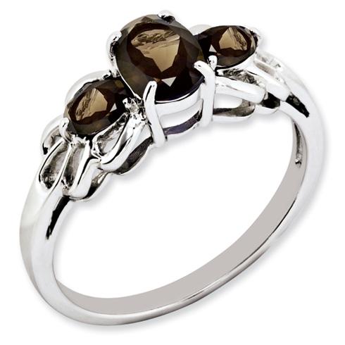 0.8 ct Sterling Silver Smokey Quartz Ring