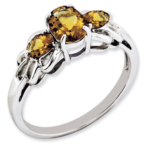 1.64 ct Sterling Silver Whiskey Quartz Ring