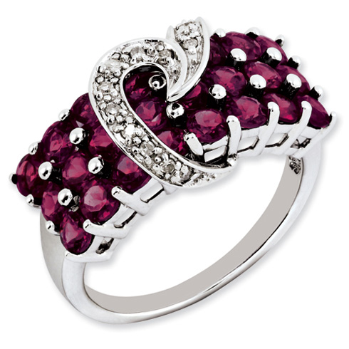 Sterling Silver 3 1 Ct Rhodolite Garnet And Diamond Ring