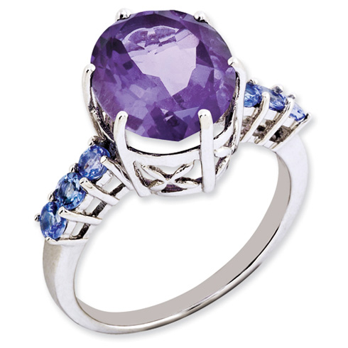 Sterling Silver 4.5 ct Amethyst and Tanzanite Ring