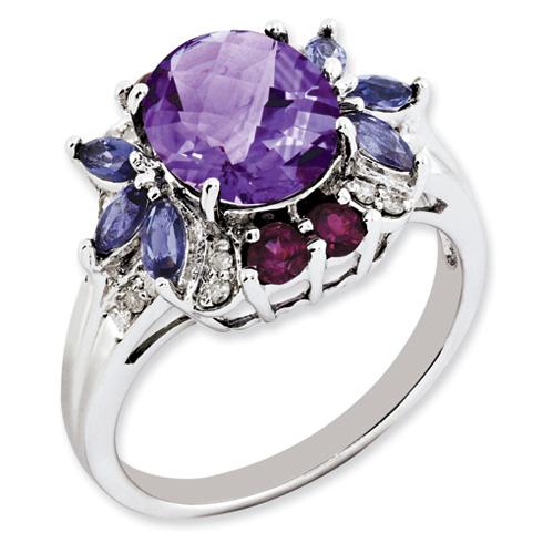 Sterling Silver 2.75 ct Amethyst Garnet Iolite Diamond Ring