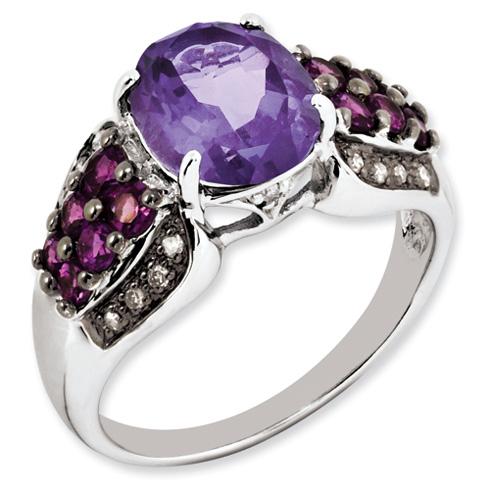 Sterling Silver 2.8 ct Amethyst Rhodolite Garnet and Diamond Ring
