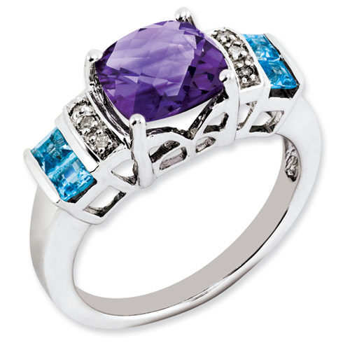 Sterling Silver 2.95 ct Amethyst Light Swiss Blue Topaz Diamond Ring