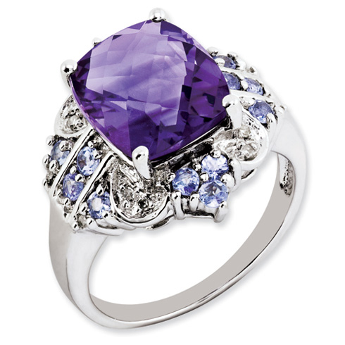 5.2 ct Sterling Silver Amethyst Tanzanite and Diamond Ring