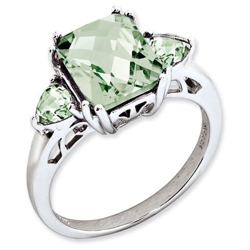 3.35 ct Sterling Silver Green Quartz Ring