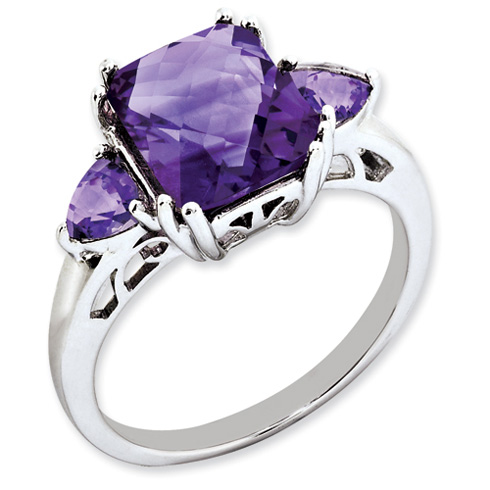 3.5 ct Sterling Silver Amethyst Ring