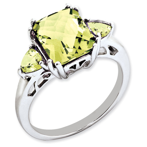3.25 ct Sterling Silver Lemon Quartz Ring
