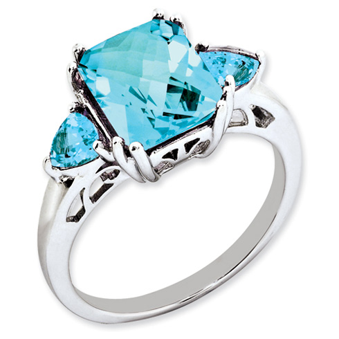 4.5 ct Sterling Silver Light Swiss Blue Topaz and Sky Blue Topaz Ring