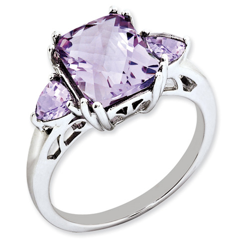 3.35 ct Sterling Silver Pink Quartz Ring