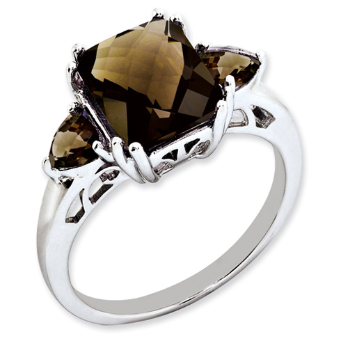 3.35 ct Sterling Silver Smokey Quartz Ring
