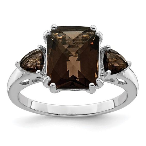 Sterling Silver 3.35 ct 3-Stone Smoky Quartz Ring