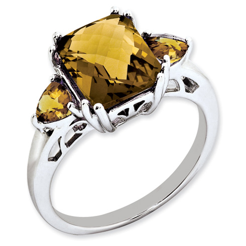 3.35 ct Sterling Silver Whiskey Quartz Ring