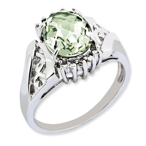 2.45 ct Sterling Silver Green Quartz and Diamond Ring