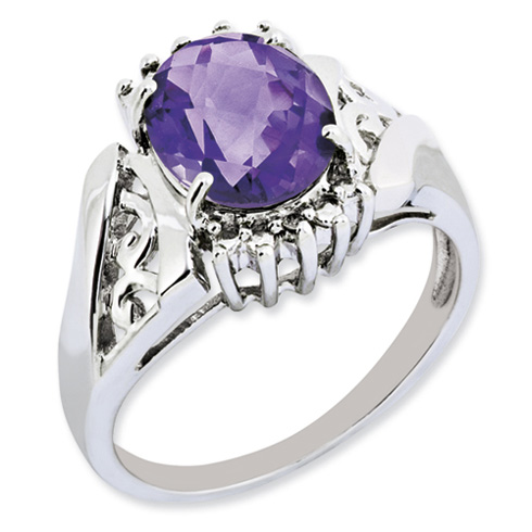 2.2 ct Sterling Silver Amethyst and Diamond Ring