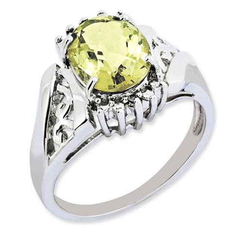 2.45 ct Sterling Silver Lemon Quartz and Diamond Ring