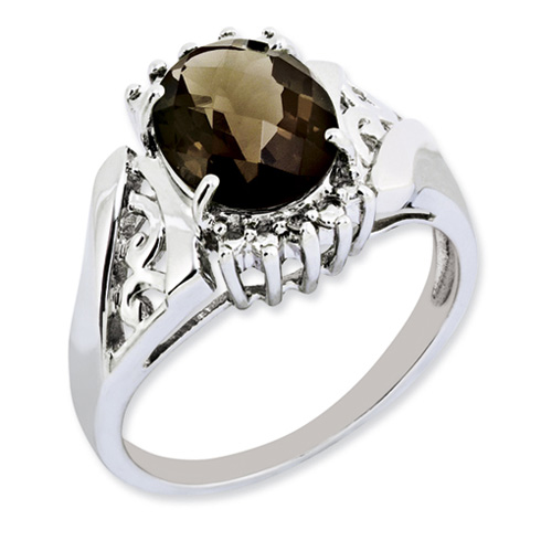2.45 ct Sterling Silver Smokey Quartz and Diamond Ring