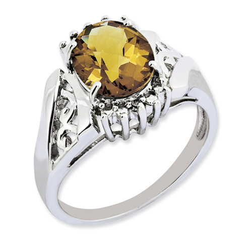 2.45 ct Sterling Silver Whiskey Quartz and Diamond Ring