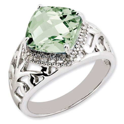 4.25 ct Sterling Silver Green Quartz and Diamond Ring