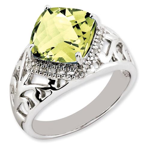 Sterling Silver 4.25 ct Square Cushion Lemon Quartz Ring with Diamonds