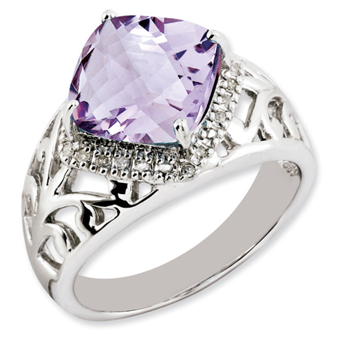 4.25 ct Sterling Silver Pink Quartz and Diamond Ring