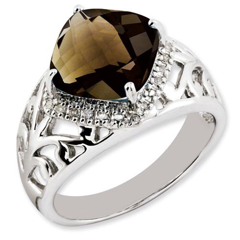 4.25 ct Sterling Silver Smokey Quartz and Diamond Ring