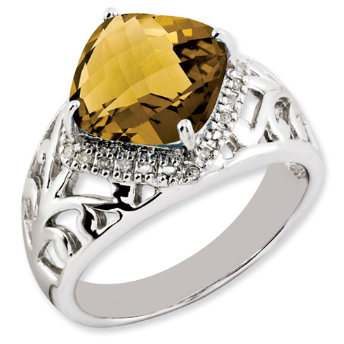 4.25 ct Sterling Silver Whiskey Quartz and Diamond Ring