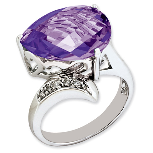 7.5 ct Sterling Silver Amethyst and Diamond Ring