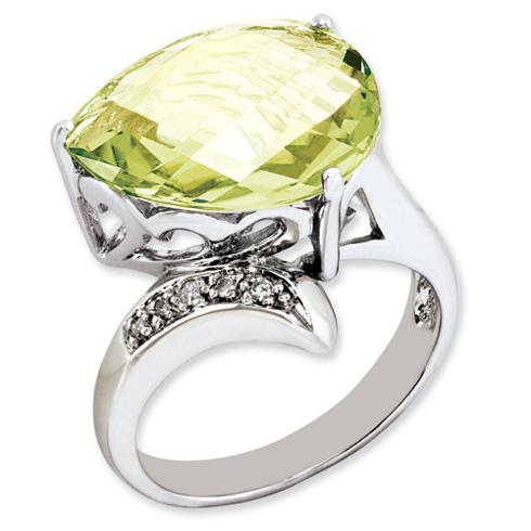 6.85 ct Sterling Silver Lemon Quartz and Diamond Ring