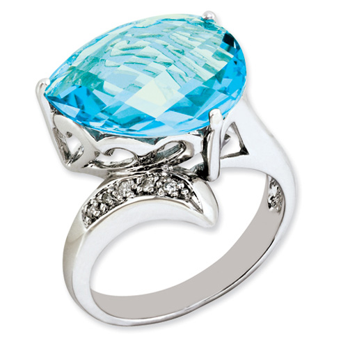 8.45 ct Sterling Silver Light Swiss Blue Topaz and Diamond Ring