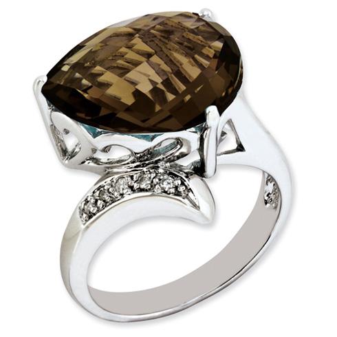7.5 ct Sterling Silver Smokey Quartz and Diamond Ring
